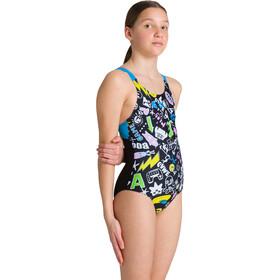 arena Playful Swim Pro Back Traje Baño Una Pieza Niñas, Multicolor/negro